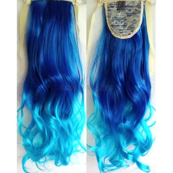 Chic Ombre Long Wavy Curly Ponytail Clip In Hair Dip Dye