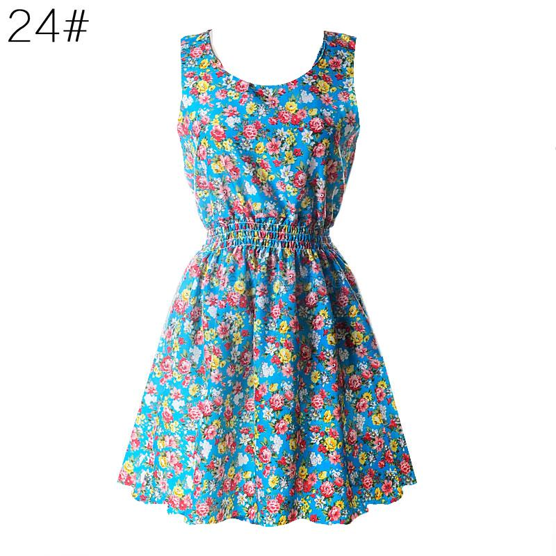 Summer-Women-039-s-Sleeveless-Sundress-Chiffon-Beach-Floral-Tank-Mini-Dress-M-XXL