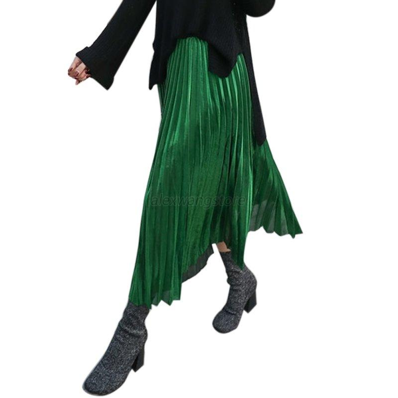 Girls-Stretch-High-Waist-Skater-Flared-Pleated-Dress-Silk-Swing-Long-Skirt-A79