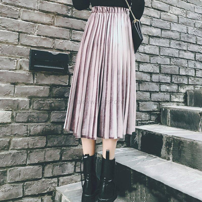 Women-Girls-Skater-Flared-Pleated-Swing-Long-Skirt-Stretch-High-Waist-Dress