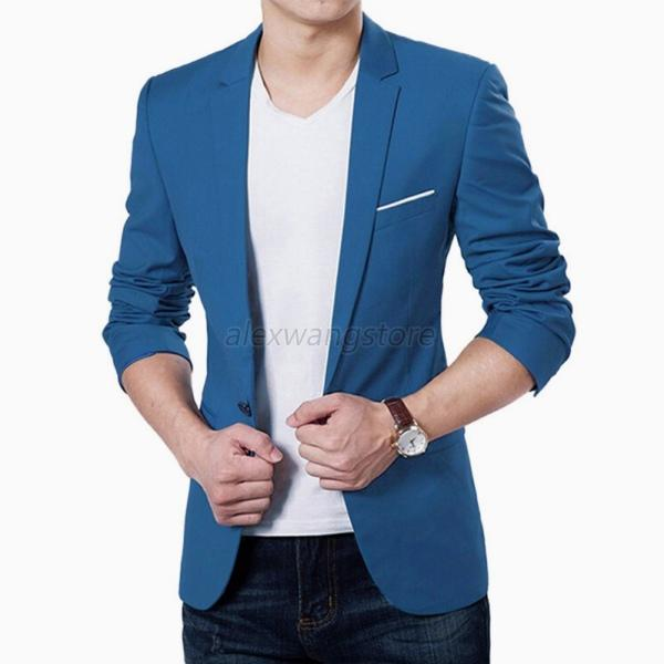 Men Slim One Button Suits Blazer Office Wear Coat Jacket Tops ...