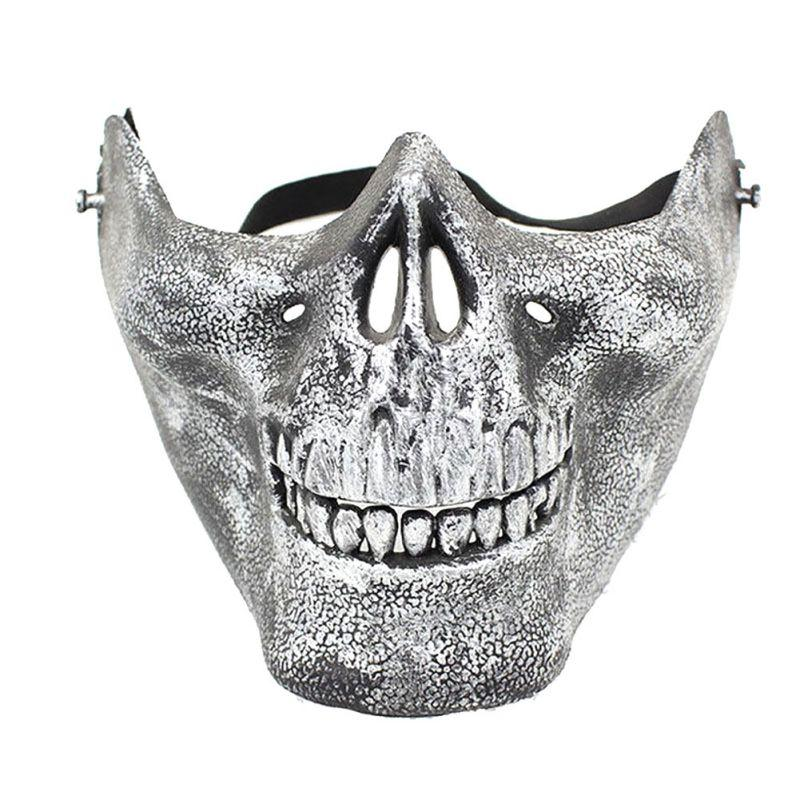 Black Half Face Mask Costume Halloween Airsoft Skull Mask ...