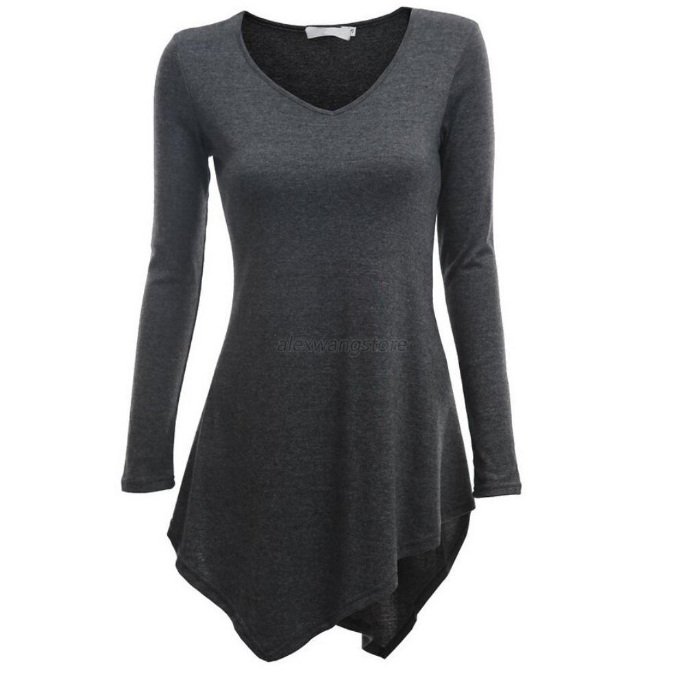 Cute Women Hem Long Sleeve Knitting Tunic V Neck Tops T ...