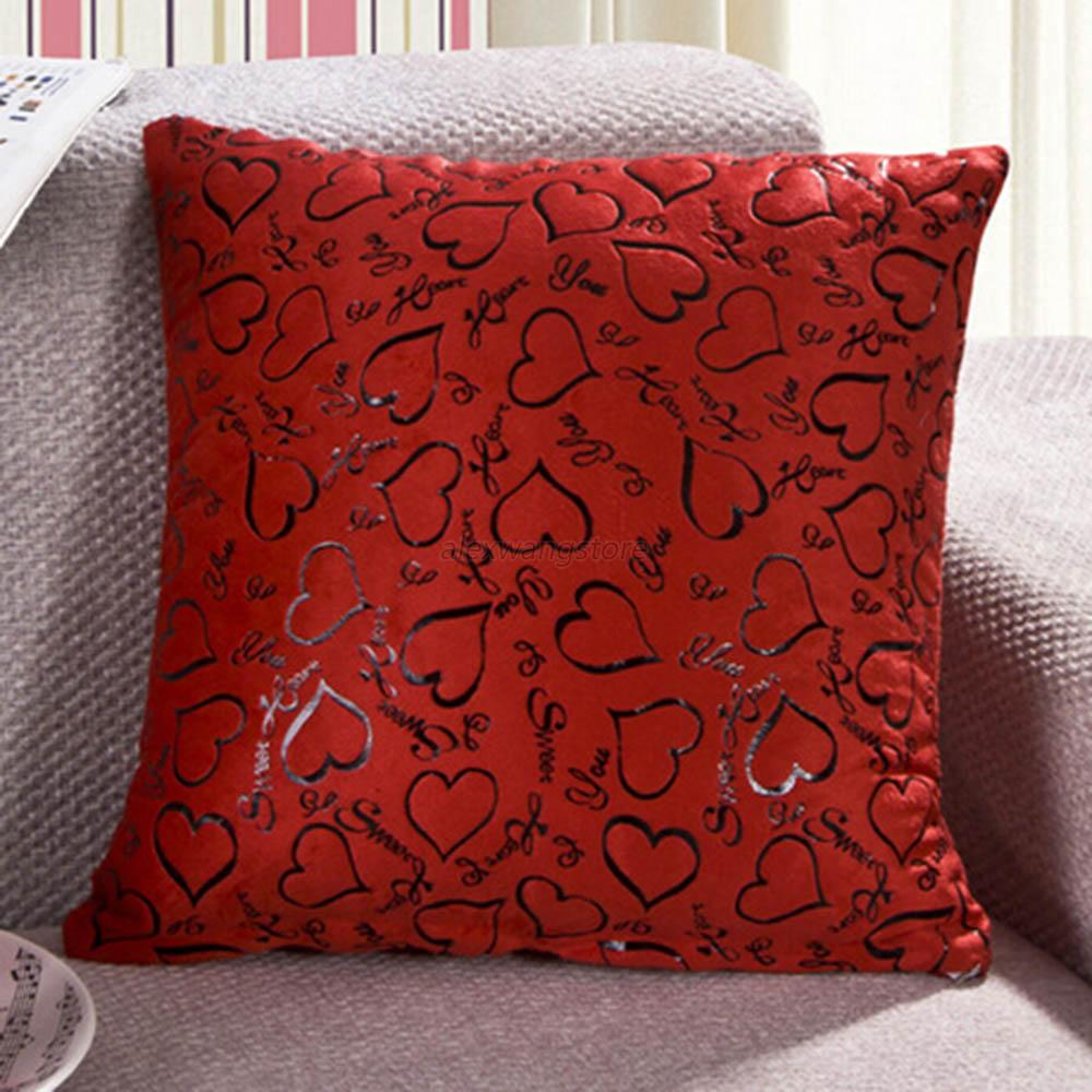 Heart retro throw pillow cases home bed sofa decorative for Decorative bed pillow case