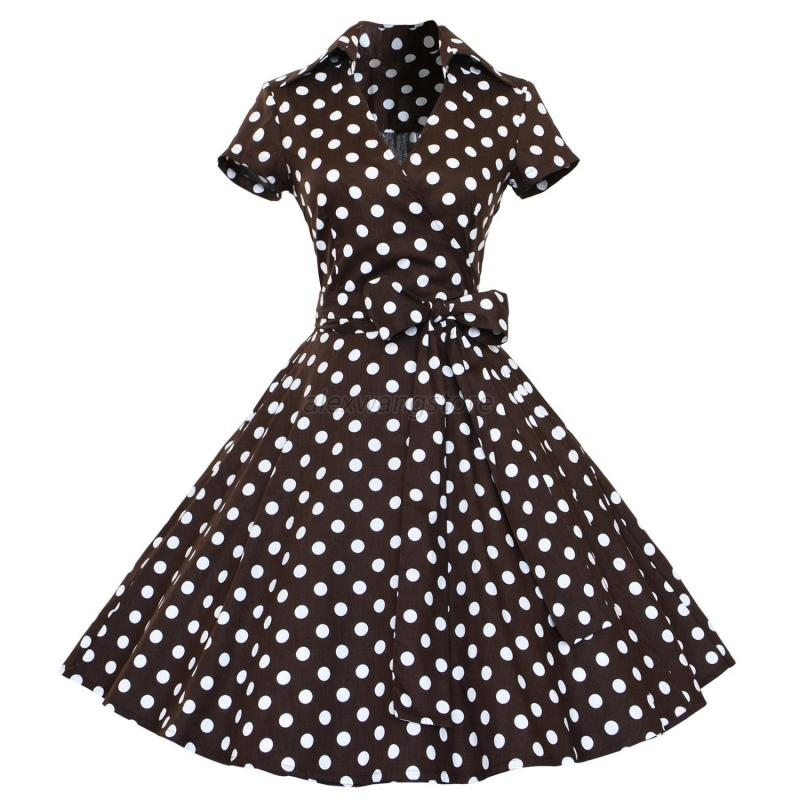 50s-60s-Retro-Hepburn-Style-VNeck-Swing-Costume-Rockabilly-Housewife-Pinup-Dress