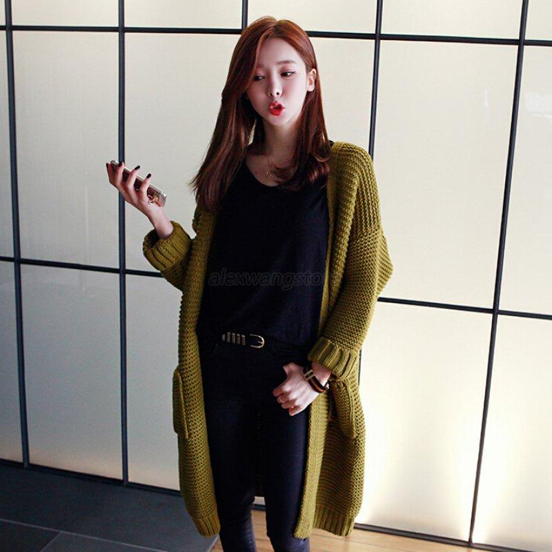 Women-Loose-Oversized-Long-Sleeve-Knitted-Sweater-Knitwaer-Cardigan-Coat-Outwear