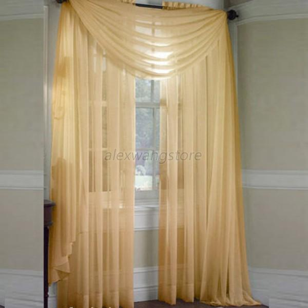 Solid Door Room Voile Window Curtain Sheer Panel Drapes Scarfs Lot Colors A58 Ebay