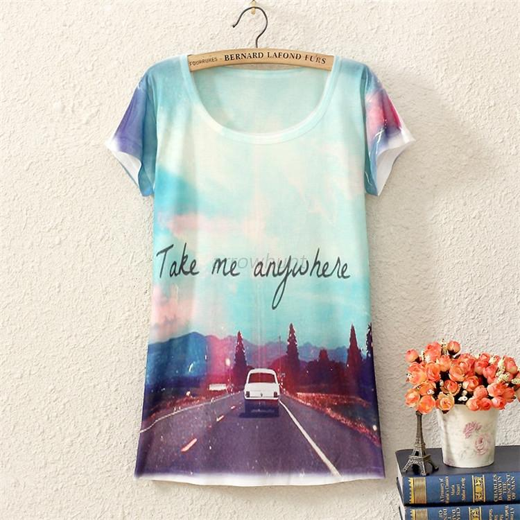 Women girls vintage graphic printed short sleeve t shirt for Graphic print t shirts