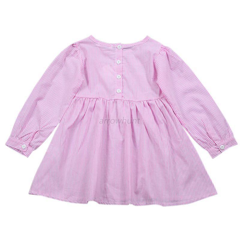 Toddler-Kids-Baby-Girl-Striped-Dress-Long-Sleeve-Princess-Party-Dress-Tutu-Skirt