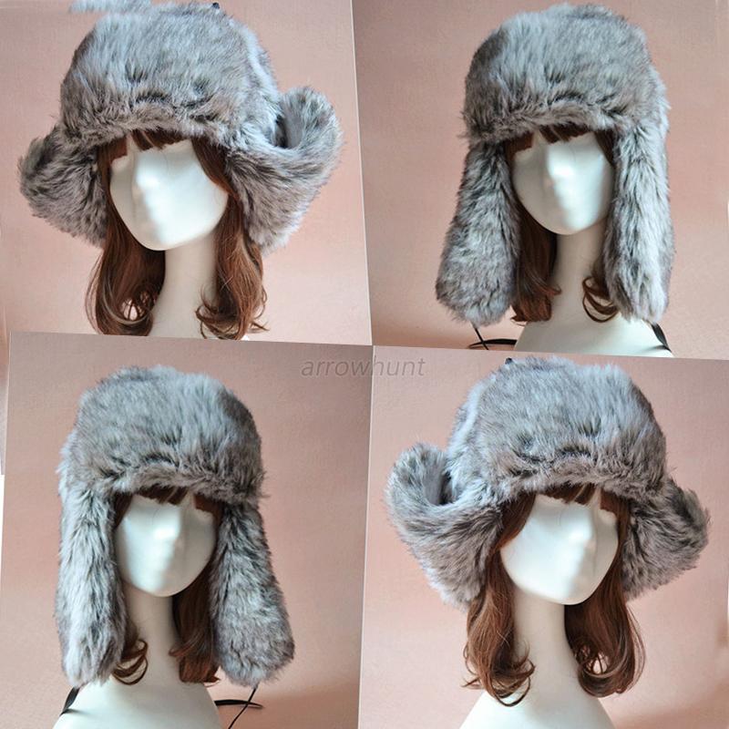 Red Russian Trapper Fur Hat Womens Mens Ear Warm Winter Beret Cap Earflap Hat
