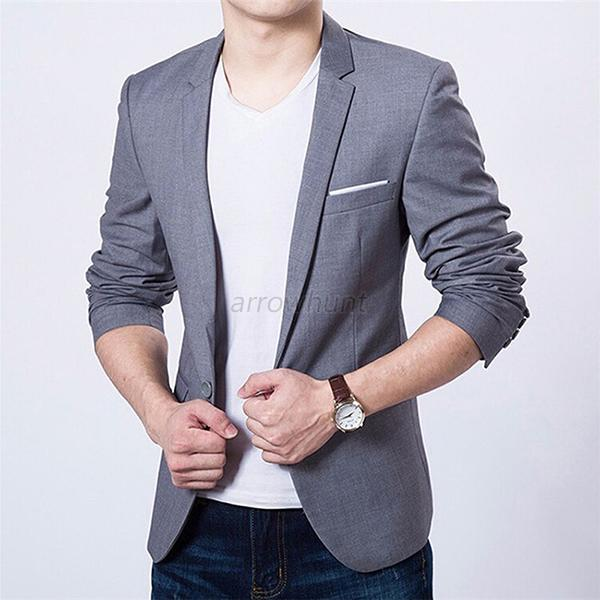 Mens Coat Jacket Blazers Slim Fit Stylish New Fashion Casual One ...