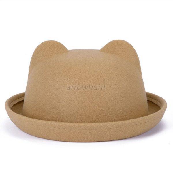 Fashion-Winter-Warm-Women-Devil-Hat-Cute-Cat-Bear-Ears-Wool-Derby-Bowler-Cap-A56