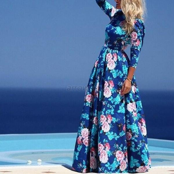 Lady-Floral-Long-Sleeve-Sundress-Evening-Party-Bodycon-Casual-Long-Maxi-Dress-UK