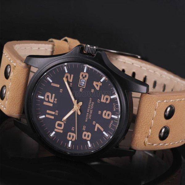 Casual Men's Sport Watches Army Military Leather Band ...