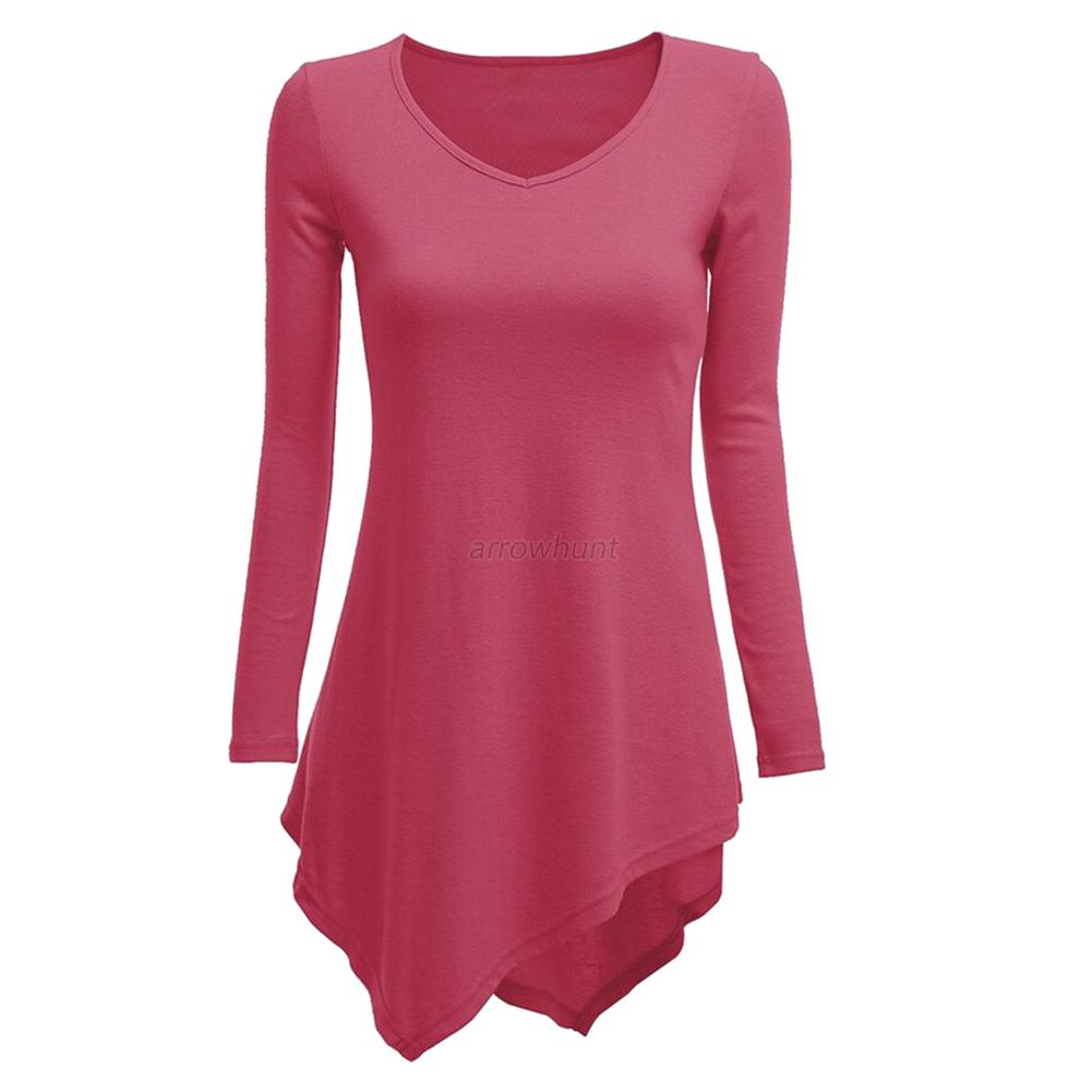 Womens Long Sleeve Knitted Shirt Sweater Dress Tunic