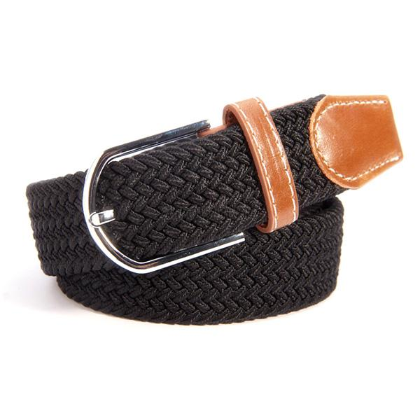 Trendy-Women-Men-Canvas-Woven-Leather-Band-Pin-Buckle-Belt-Elastic-Waist-Straps