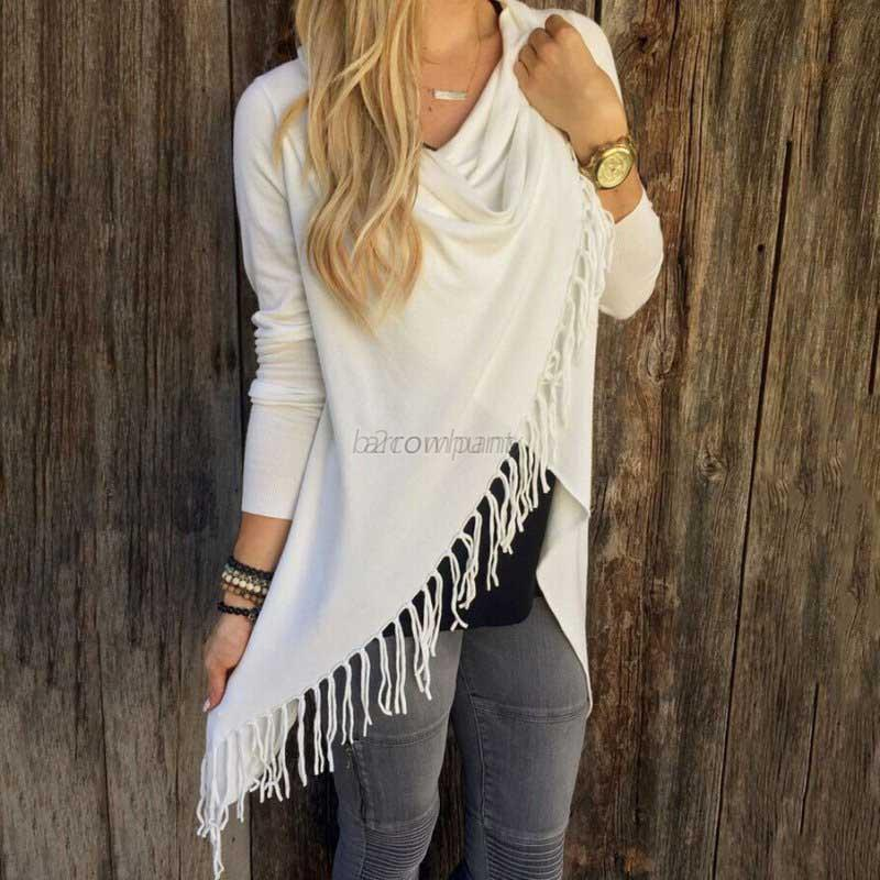 Fashion-Women-039-s-Long-Sleeve-Cardigan-Jacket-Loose-Knitted-Tassel-Sweater-Outwear