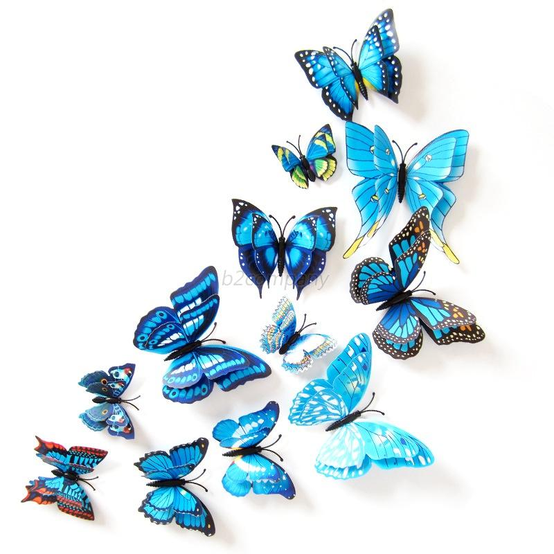 Magnet butterfly refrigerator sticker removable 3d wall for Home decor 3d stickers