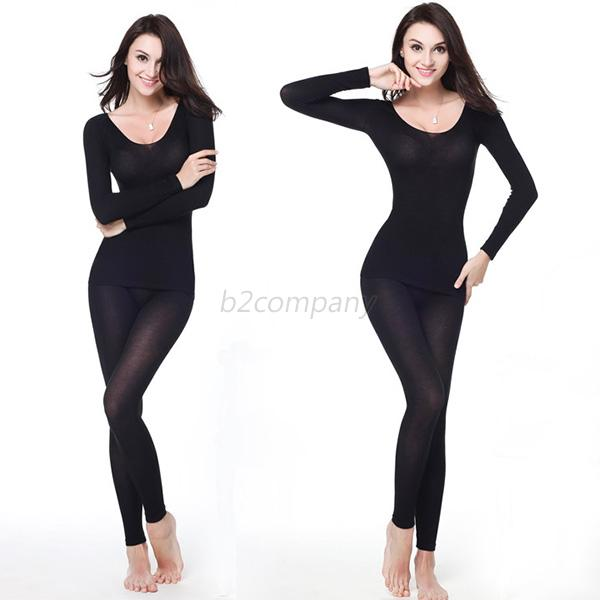 Womens Thermal Underwear Ultrathin Warmed Modal Long Johns Tops   ...