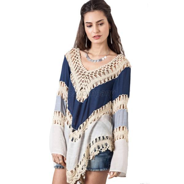 Usa Women Fashion Irregular Crochet Kimono Blouse Plus Size Shirt