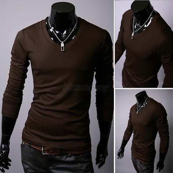 Mens Stylish Tops Slim Fit Casual Fashion T-shirts V Neck Shirt ...