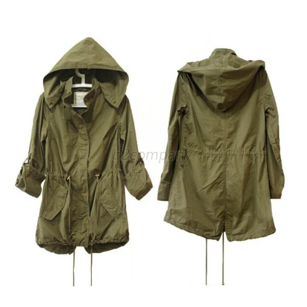 Women Drawstring Waist Military Parka Hooded Warm Winter Long Coat ...