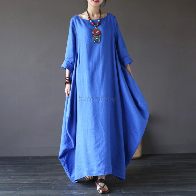 Women-Crew-Neck-Oversized-Long-Shirt-Dress-Soild-Long-Maxi-Dress-Plus-Size-L-5XL