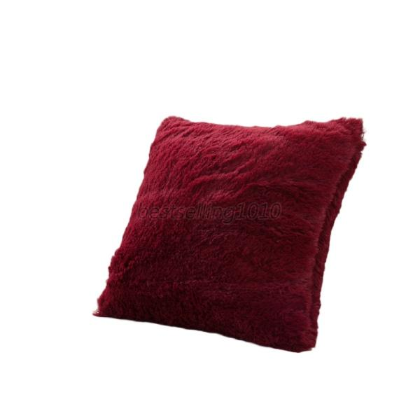 Super soft cushion cover long plush solid bed sofa throw for Decorative bed pillow case