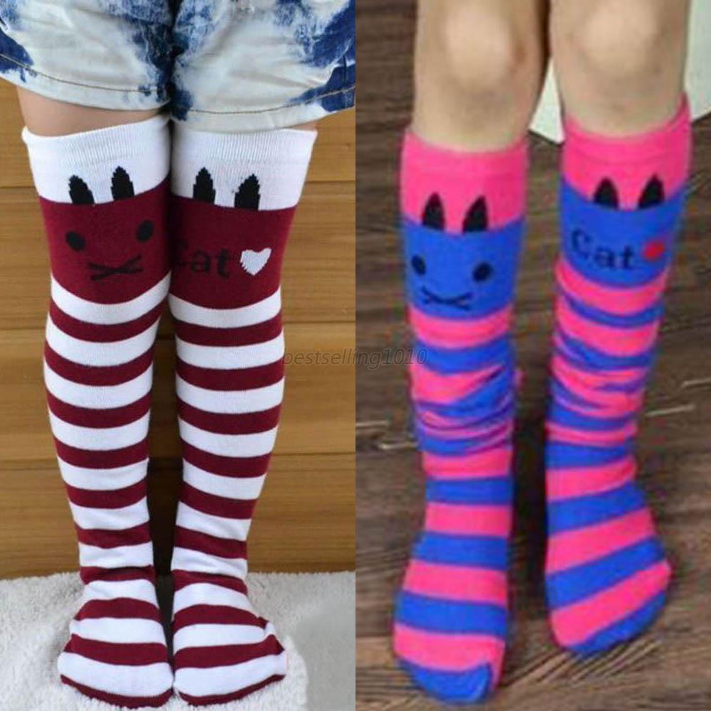 3abe653a65c Kids Girls Striped Thigh High Long Over Knee Cat Stripe Print Socks ...
