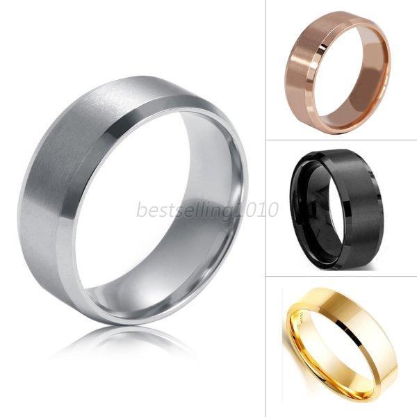 8mm titanium men women stainless steel band brushed for Mens stainless steel wedding rings