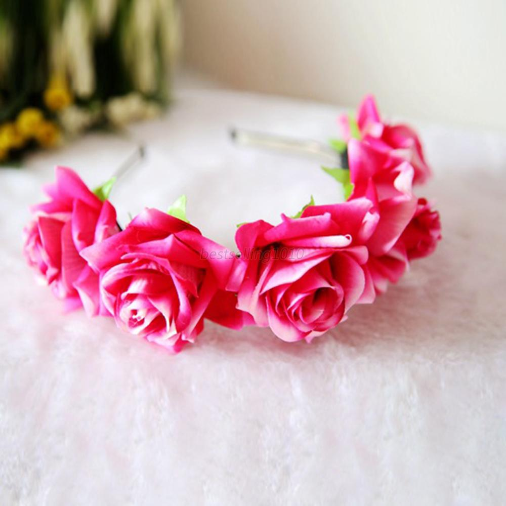 Us Rose Flower Crown Headband Wedding Bridal Prom Beach Floral