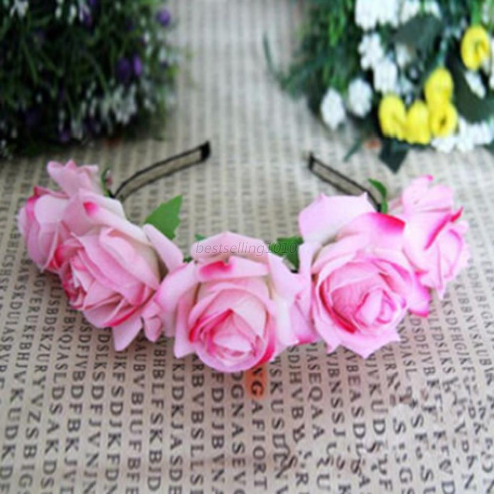 Us bridal rose flower crown headband wedding prom beach floral picture 11 of 11 izmirmasajfo