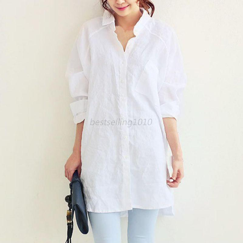 AU-Womens-Oversized-Linen-Blouse-Long-Sleeve-Loose-Shirt-Casual-Tops-Botton-Coat