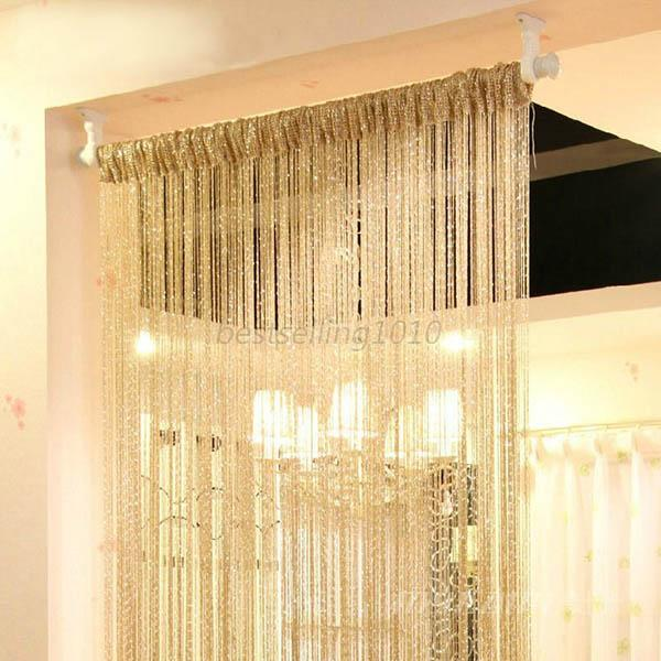 Special silver silk string curtain living room door for Curtain partition living room
