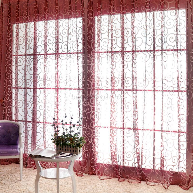 Vintage-Window-Curtain-Sheer-Scarf-Valances-Floral-Tulle-Voile-Door-Drape-Panel