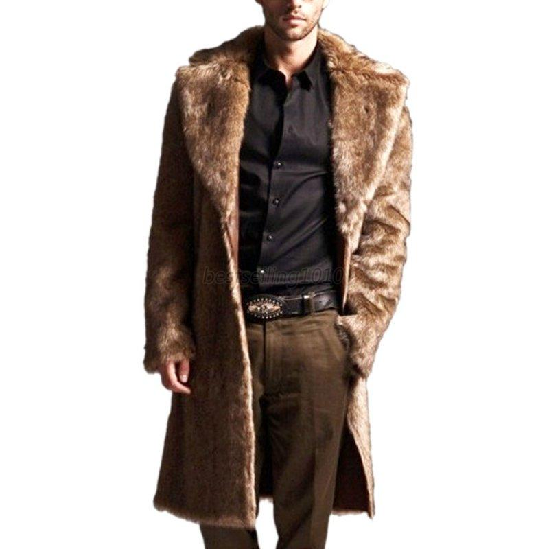 US Mens Faux Fur Warm Thicken Long Jacket Trench Coat Overcoat ...