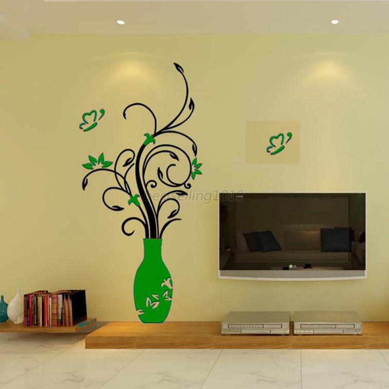US Removable Acrylic 3D Flower Vase Wall Sticker Art Mural Decal ...