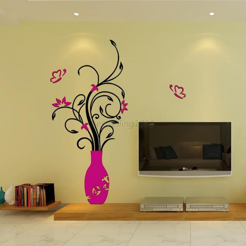 US Acrylic 3D Flower Vase Wall Sticker Art Mural Decal Removable ...