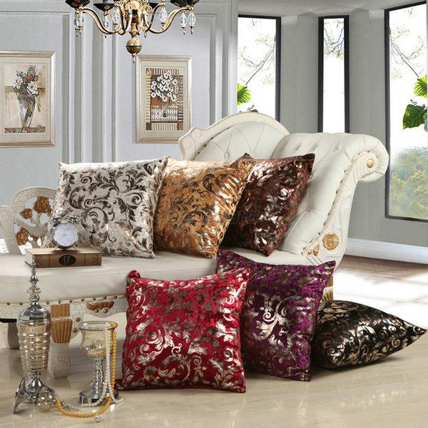 Luxury Silver Floral Cushion Throw Pillow Case Cover Sofa Decor 18