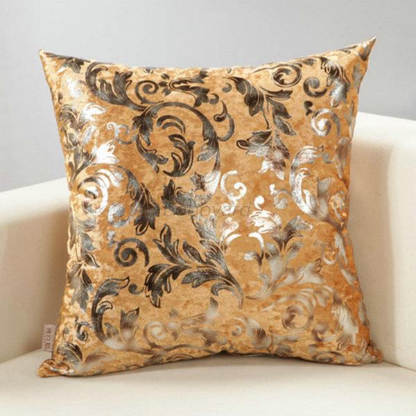 Luxury Silver Floral Cushion Throw Pillow Case Cover