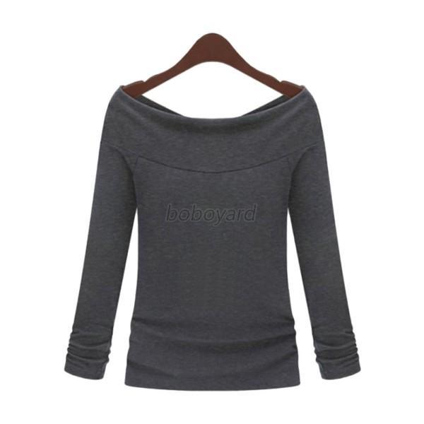 Off shoulder women girl long sleeve autumn t shirts blouse for Boat neck t shirt women s