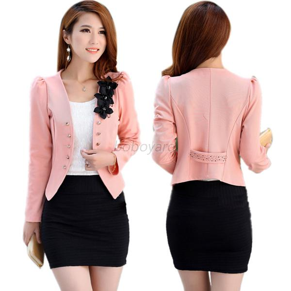 OL Women Lady Coat Long Sleeve Slim Short Blazer Jacket Coat Multi ...