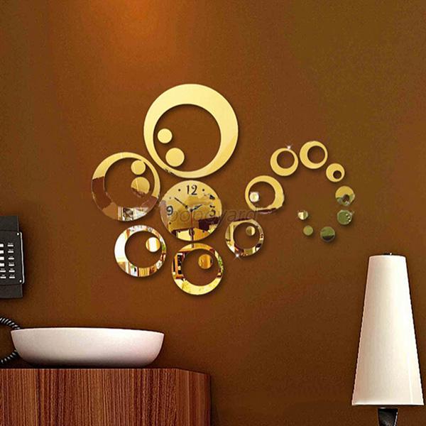 Mirror Wall Clock modern 3d circles mirror wall clock home diy acrylic clock decor
