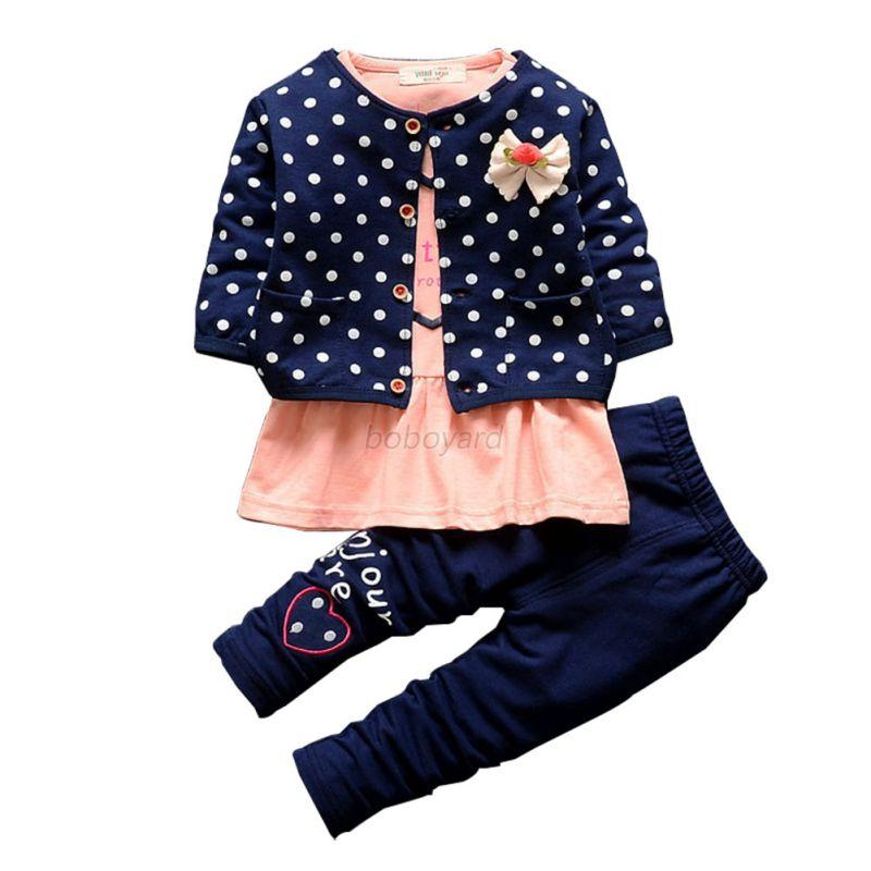 winter 3pcs baby girls polka dot coat long sleeve t shirt pant outfits sets ebay. Black Bedroom Furniture Sets. Home Design Ideas