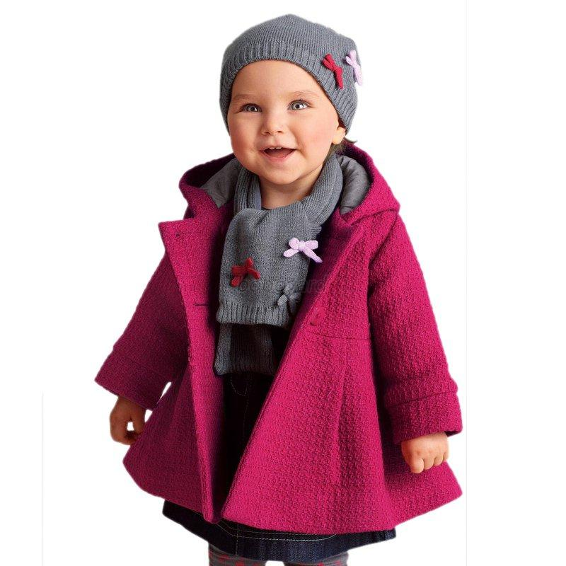 baby toddler girls kids winter button hooded coat. Black Bedroom Furniture Sets. Home Design Ideas