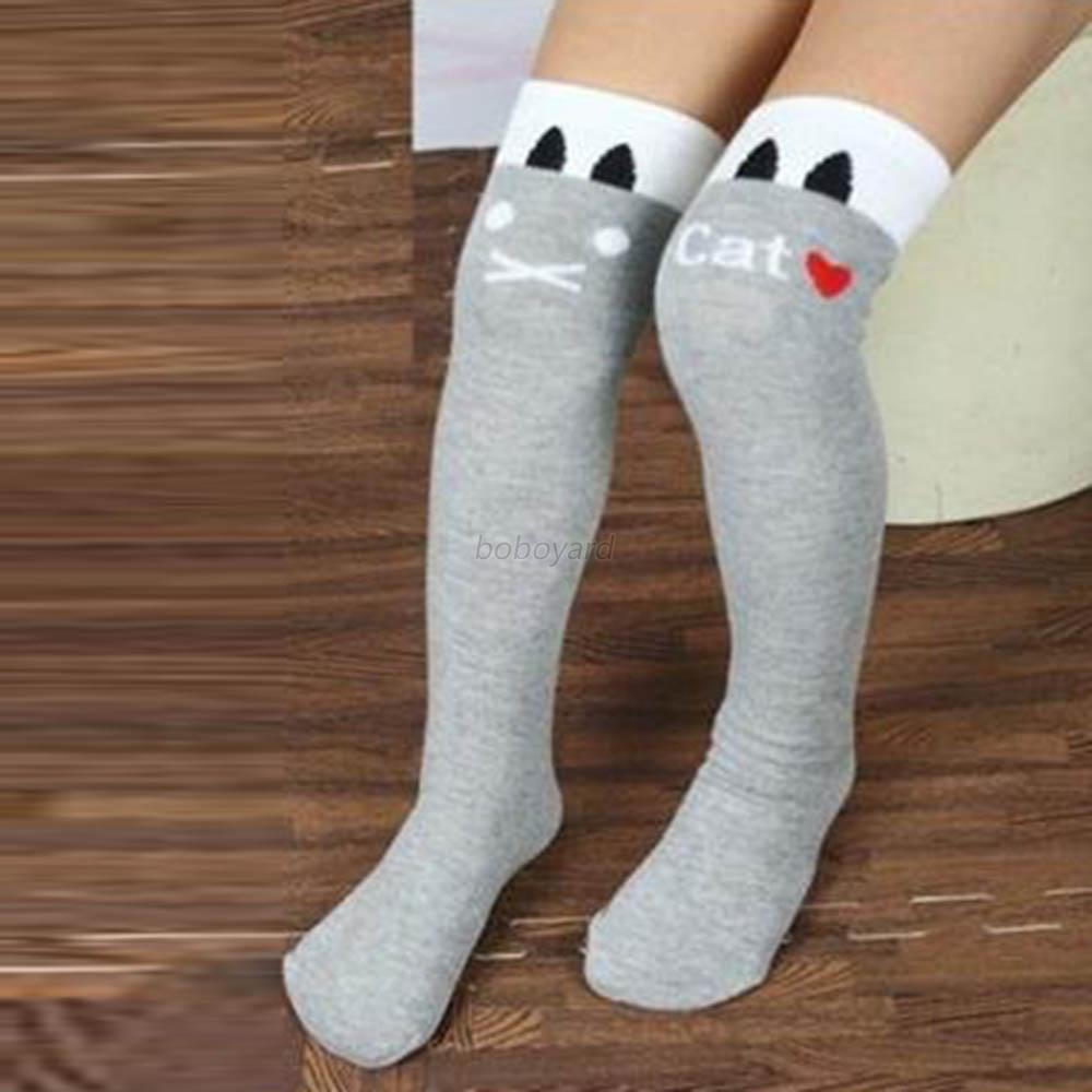 Cut Kids Baby Girls Cat Striped High Over Knee Stockings