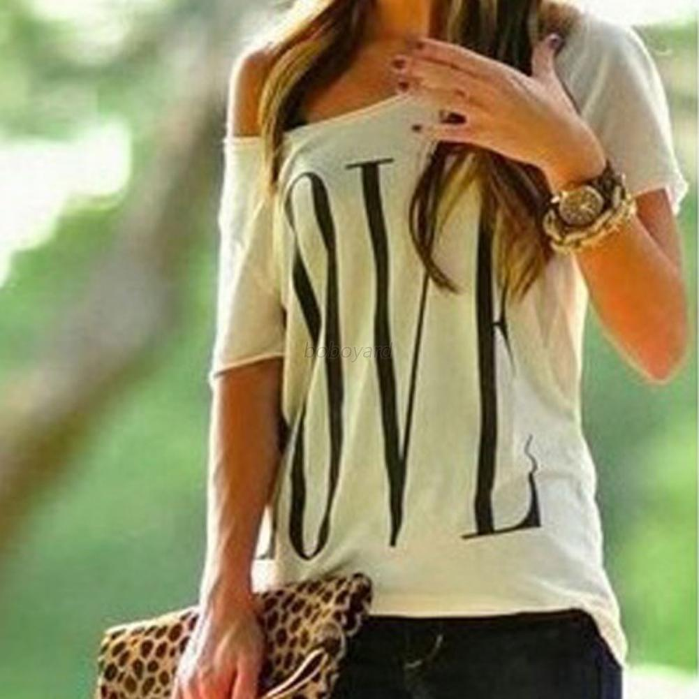 Womens-Girls-Summer-Loose-Casual-Basic-T-Shirt-Off-One-Shoulder-Tops-Blouse-UK