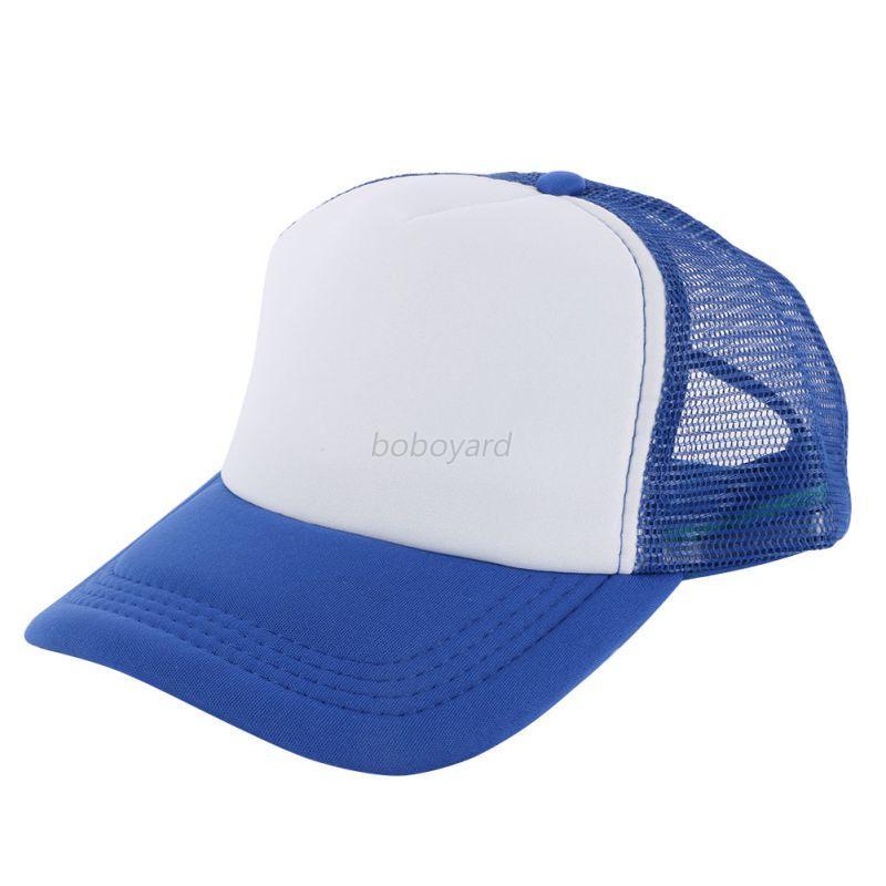 Plain Baseball Cap Solid Trucker Mesh Blank Curved Visor ...