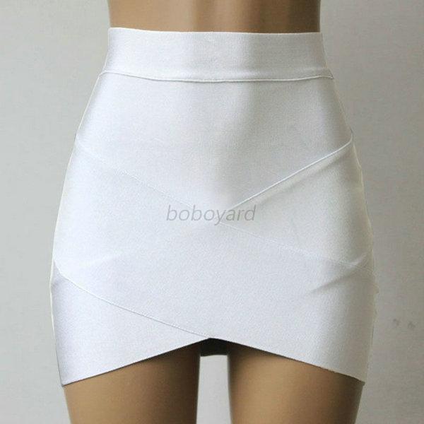 Women Lady High Waist Bandage Mini Skirt Synthetic Fiber Slim ...