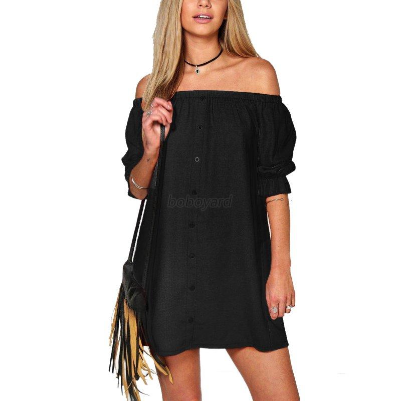 ladies womens strapless off shoulder straight dress loose
